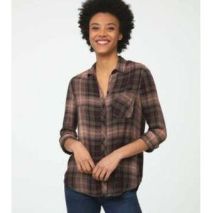 Beach Lunch Lounge Brown Plaid Cozy Flannel Button Down Shirt Size XS